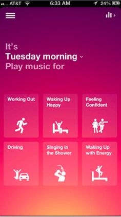 Songza: Unlike a lot of other music applications, Songza does not ask for preferences on artists,or songs. Instead, this ingenious app serves up music suggestions based on the time of day. Select from a list of likely activities for that part of the day and zone in on the song style you think best fits the situation. Songza can make a playlist selection based on mood, decade or the genre of music. ... More music to your ears: it's free.