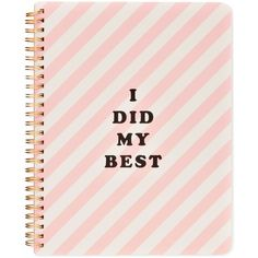 ban.do I Did My Best Mini Notebook ($10) ❤ liked on Polyvore featuring home, home decor, stationery, fillers, accessories, notebooks, stationary and pink