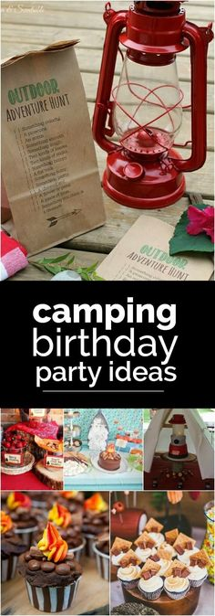 A camping themed birthday party lends itself to so many fun outdoor-inspired designs, so we've rounded up 23 awesome camping party ideas for you to check out. There are a ton of clever camping ideas! Adult Camping Party, Camping Party Foods, Camping Party Decorations, Camping Parties, Birthday Party Decorations, Party Themes, Ideas Party, Indoor Camping, Camping Games