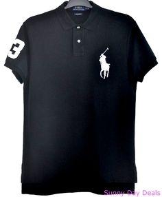 Ralph Lauren Mens Polo Shirt Big Pony Black 3 Custom Fit Short Sleeve Solid M  #PoloRalphLauren #PoloRugby