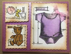 Baby Shower card or congratulations on baby girl card. Tim holtz blueprint stamps, spectrum Noir alcohol markers, vintage photo distress ink.