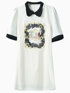 White Embroidery Floral Dress With Contrast Color Collar   Choies