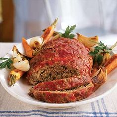 Classic Meat Loaf Healthy Recipe < Our Best Meat Loaf Recipes - Cooking Light Easy Meatloaf Recipe With Oatmeal, Good Meatloaf Recipe, Meat Loaf Recipe Easy, Best Meatloaf, Meatloaf Recipes, Meat Recipes, Cooking Recipes, Healthy Meatloaf, Side Dishes