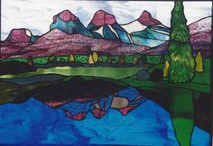 Three Sisters, Canmore by Rhonda at Rhonda's Stained Glass, Calgary, Alberta