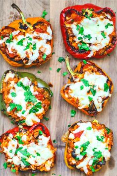 These filling Vegetarian Stuffed Peppers are brimming with heart-healthy lentils rice juicy tomatoes tender mushrooms and black olives vegetarian vegetarianrecipes stuffedpeppers lentils legumes protein fiber easyrecipes meatlessmonday Healthy Meal Prep, Healthy Snacks, Healthy Recipes, Lentil Recipes, Vegan Recipes For Kids, Dinner Healthy, Thai Recipes, Yummy Recipes, Vegetarian Stuffed Peppers
