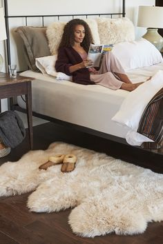 Overland x premium australian sheepskin rug. the perfect cozy bedroom mixes natural elements and super-soft materials for a space that's always inviting. Girls Bedroom, Woman Bedroom, Small Room Bedroom, Trendy Bedroom, Cozy Bedroom, Modern Bedroom, Bedroom Rugs, Modern Bedding, Bedroom Bed