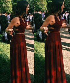 Unique two pieces burgundy long prom dress, evening dress