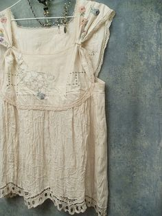 Boho Smock Top Tunic Upcyled Vintage Embroidery and Lace OOAK by Resurrection Rags, via Flickr