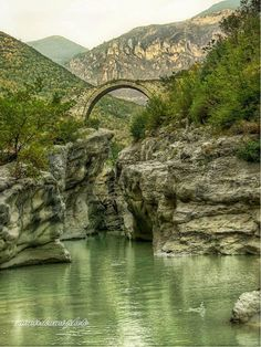 Brari's bridge, Albania. It is an arch bridge thought to have been built 300 years ago, as a charity gift for the villagers, by one of three Muslim sisters. What is interesting is that the arch of the bridge has been done by using sand with beaten eggs to make it stronger and everlasting. It has also been verified to have been built on the ruins of the Old Roman Bridge (remains of this Roman Bridge can be seen even today).