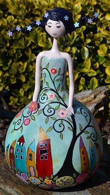 Cabaça e arte: Lady flower