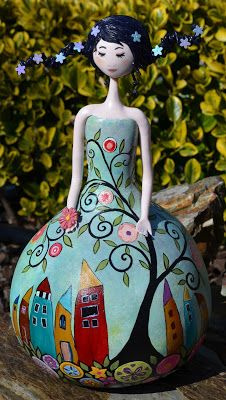 Cabaça e arte: Lady flower Paper Clay, Clay Art, Paper Art, Bottle Art, Bottle Crafts, Diy Home Crafts, Arts And Crafts, Paper Dolls, Art Dolls