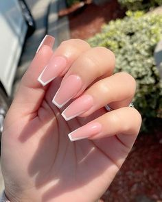 Acrylic Nails Coffin Short, Square Acrylic Nails, Simple Acrylic Nails, Pink Acrylic Nails, Coffin Shape Nails, Pink Nails, French Acrylic Nails, Acrylic Nail Designs, Beige Nails