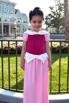 A comfy knit Princess Aurora costume with a free collar pattern piece.