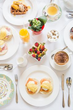 Eggs Benedict at The Orangery Kensington Palace in London. Just our cup of cappuccino.