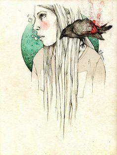 Girl & crow by elia, illustration
