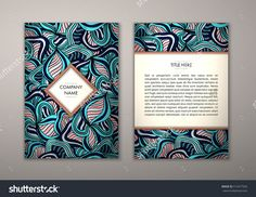 Flyer Template With Abstract Ornament Pattern. Vector Greeting Card Design. Front Page And Back Page. - 515477926 : Shutterstock