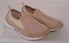 Womens Easy Spirit Beige Sneaker Slip On Walking Shoes Sz 8.5 #EasySpirit #WalkingHikingTrail