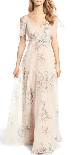 Jenny Yoo Cassie Flutter Sleeve Surplice Gown Feather-light and printed with painterly floral bursts, this ethereal gown features a beautifully draped surplice neckline, romantic flutter sleeves and a floaty, floor-sweeping skirt. Cream Bridesmaids, Cream Bridesmaid Dresses, Blush Dresses, Pretty Dresses, Prom Dresses, Summer Dresses, Formal Dresses, Wedding Dresses, Evening Dresses