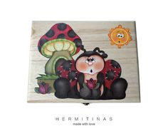 Wooden box with a lady bug and a mushroom Lady bug by Hermitinas