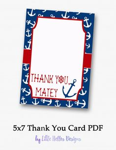 Thank You Card Anchors Away by LittleHellosDesigns on Etsy