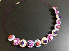 Button Necklace Spotted Wooden Choker  Orange Purple Pink Aqua £12.50