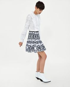 Image 3 of SKIRT WITH CONTRASTING EMBROIDERY AND PERFORATIONS from Zara