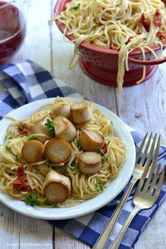 "... King Oyster Mushroom ""Scallops"" and Pasta (gluten-free vegan) -..."