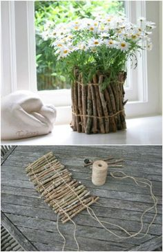 25 cheap and easy DIY home and garden projects with embroidery .- 25 billig und einfach DIY Haus und Garten-Projekte mit Sticks und Zweige 25 cheap and easy DIY home and garden projects with sticks and twigs - Twig Crafts, Vase Crafts, Diy Home Crafts, Garden Crafts, Garden Art, Home And Garden, Decor Crafts, Diy Decorations For Home, Plant Crafts