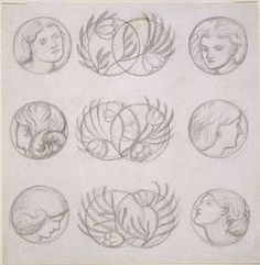 sketch of ornaments on a sofa, Dante Gabriel Rossetti, c. 1860.