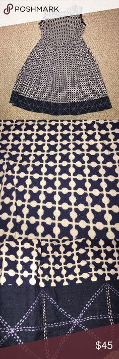 "Mata Traders Dress Beautiful tan/navy pattern. Size medium. Cotton. 17"" pit to pit. Elastic waist 14"". 35"" long. Pockets. Mata Traders Dresses Midi"