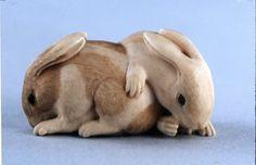 2 Rabbits. Japanese netsuke, made of ivory,