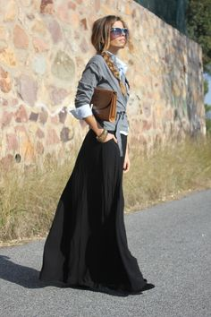 grey wrap sweater, black maxi skirt, and black heels