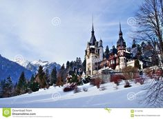 Landscape view of the Peles Castle in Sinaia, Romania and the Carpathian Mountains in winter.   carpathian,castle,landscape,mountains,peles,romania,sinaia,winter,alpine,architectural,architecture,art,balcony,baroque,beautiful,building,chateau,construction,culture,destinations