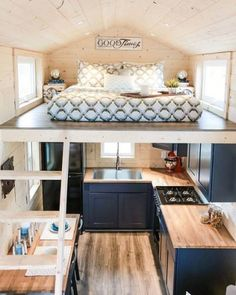 Tiny House Movement // Tiny Living // Tiny House on Wheels // Traveling Tiny House // Tiny House Kitchen // Tiny Home Tiny House Living, Small Living, Home And Living, Living Rooms, Tiny House Kitchens, Tiny House Bedroom, Bus Living, House Bath, House And Home