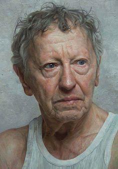 """Sam Goldofsky"" - David Jon Kassan, life-size detail oil on panel {contemporary realism artist male head #hyperreal man face portrait painting} davidkassan.com"
