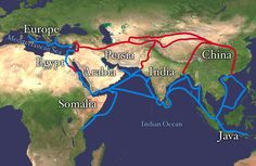 A map showing the Silk Road in red and the spice trade routes in blue. On the right, the routes stretch from India down through the Strait of Malacca, past Singapore and Indonesia and up to China.