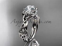 14kt white gold diamond celtic trinity knot wedding ring, engagement ring CT7289 #diamonds