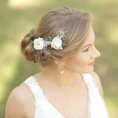 Burlap weddings bridal hair accessories bridal hair by LeFlowers, $41.00