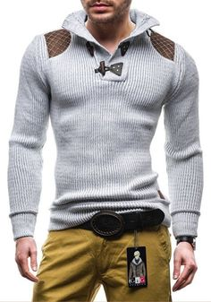 Friendshiy Sweater Men Casual Slim Sweaters Men Horns Buckle Thick Hedging Turtleneck Sweater 3XL,Large,Navy