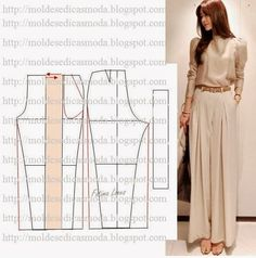 ≈ Simple cuts and remaking old things ≈. Discussion on LiveInternet - Russian Online Diary Service Sewing Patterns Free, Sewing Tutorials, Clothing Patterns, Dress Patterns, Free Pattern, Sewing Pants, Sewing Clothes, Fashion Sewing, Diy Fashion