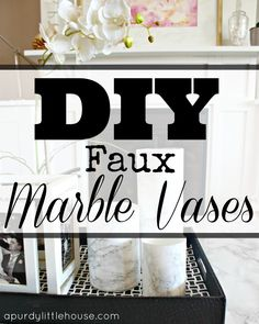 Faux Marble Vase. Find out how to make a fake marble vase using a glass vase from the dollar store and marble contact paper.