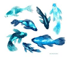 Creature Concept Art, Creature Design, Creature Drawings, Animal Drawings, Cute Creatures, Fantasy Creatures, Pretty Art, Cute Art, Underwater Art