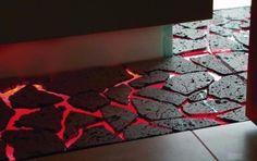 floor designed to look like lava