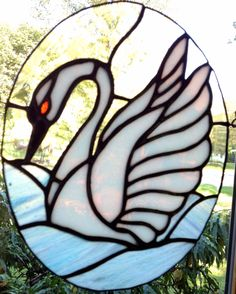 Swan stained glass!♥ I used this swan design for a bathroom window in our flat on our farm estate in 1984! All for my love of swans... transform the design to a lotus and lilley pool♥