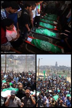 Of the funerals of Family Al-Haj killed in the Israeli air attacks on the Gaza Strip July 10, 2014.