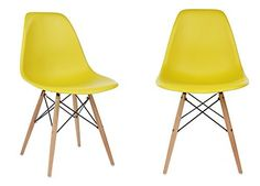 Ariel Eames Style DSW Dark Yellow Plastic Shell Chair with Wood Eiffel Legs Set of 2 * You can find more details by visiting the image link.Note:It is affiliate link to Amazon.