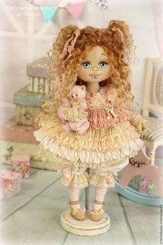 Купить Пироженка . Кукла авторская текстильная art doll - кремовый, розовый…