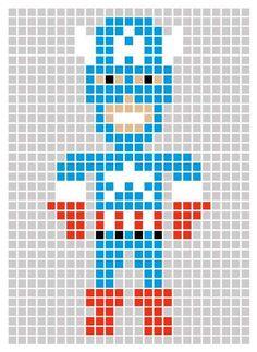 Superhero Pixel Art Templates - Marvel's The Avengers Post-its Lets Users Make… Marvel Images, Pixel Art Super Heros, Hama Beads, Fuse Beads, Post It Art, Image Pixel Art, Hero Crafts, Modele Pixel Art, Lego Mosaic