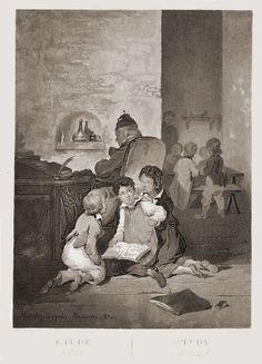 """Etude/Study. L'Ecole/The school"", 1833. Joseph Beaume (1798 - 1885), French painter."