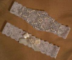 Handmade Swarovski crystal rhinestone wedding garter set, Ivory stretch lace